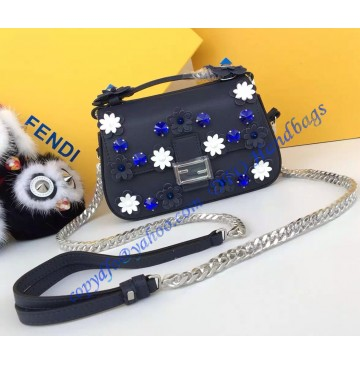 Fendi Double Micro Baguette in Dark Blue and White Leather with Flower