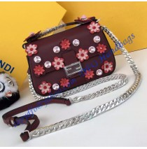 Fendi Double Micro Baguette in Wine Red and White Leather with Flower