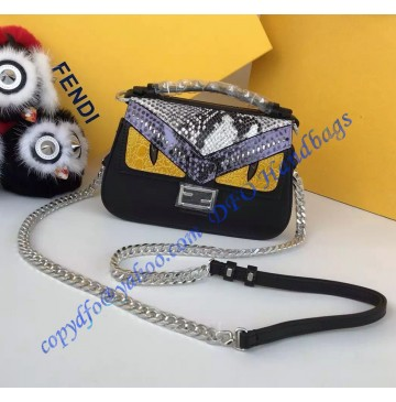 Fendi Double Micro Baguette in Black and White Leather and Elaphe with Bag Bugs Detailing