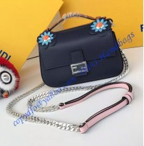 Fendi Double Micro Baguette Bicolor Dark Blue and Pink