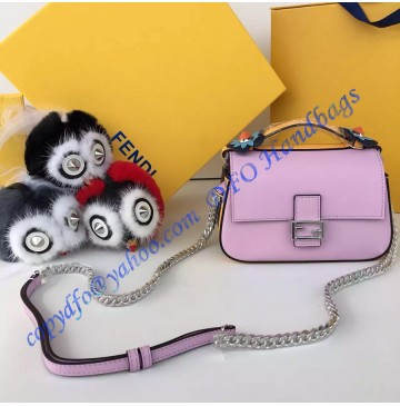 Fendi Double Micro Baguette Bicolor Pink and Dark Blue