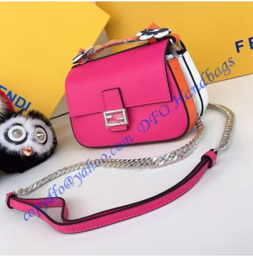 Fendi Double Micro Baguette Bicolor Rose and White