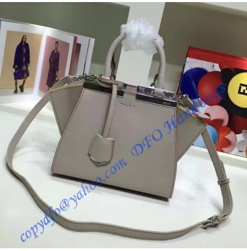 Fendi Mini 3Jours in Light Gray Leather Handbag