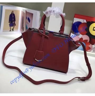 Fendi Mini 3Jours in Wine Red Leather Handbag