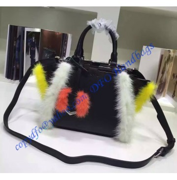 Fendi Mini 3Jours in Black Leather with mink-fur trim