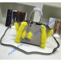 Fendi Mini 3Jours in Light Gray Leather with mink-fur trim