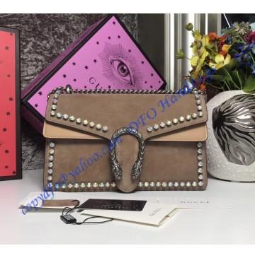 Gucci Dionysus Crystal Medium Shoulder Bag in Tan Suede