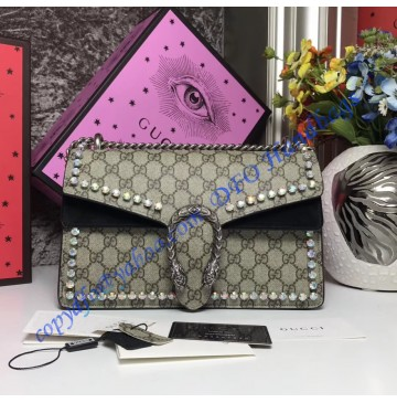 Gucci Dionysus GG Supreme Crystal Medium Shoulder Bag with Black Suede Detail