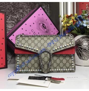 Gucci Dionysus GG Supreme Crystal Medium Shoulder Bag with Red Suede Detail