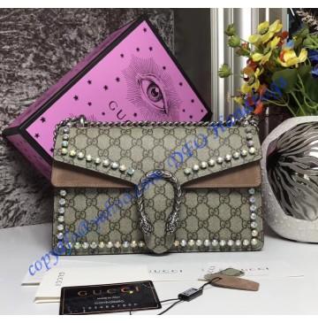 Gucci Dionysus GG Supreme Crystal Medium Shoulder Bag with Tan Suede Detail