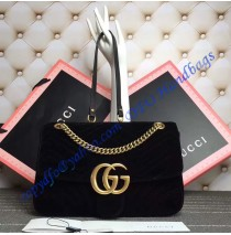 Gucci Medium GG Marmont Black velvet shoulder bag