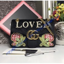 Gucci Medium GG Marmont Black velvet shoulder bag with Floral Embroideries