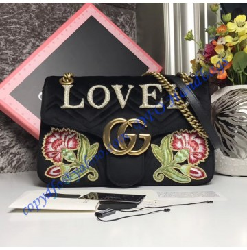 Gucci Medium GG Marmont Black velvet shoulder bag with Floral Embroideries