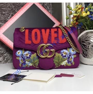 Gucci Medium GG Marmont Purple velvet shoulder bag with Floral Embroideries