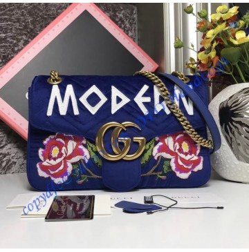 Gucci Medium GG Marmont Royal Blue velvet shoulder bag with Floral Embroideries