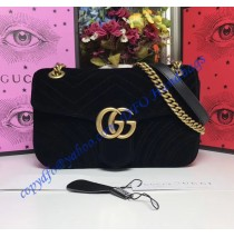 Gucci Small GG Marmont Black velvet shoulder bag