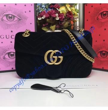 Gucci Small GG Marmont Black velvet shoulder bag