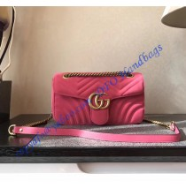 Gucci Small GG Marmont Pink velvet shoulder bag