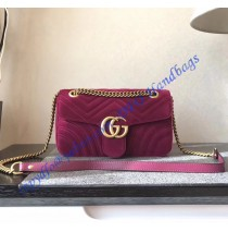 Gucci Small GG Marmont Rose Red velvet shoulder bag