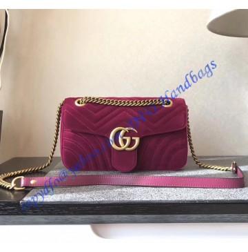 Gucci Small GG Marmont Rose Red velvet shoulder bag