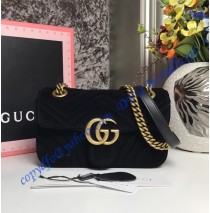 Gucci Mini GG Marmont Black velvet shoulder bag