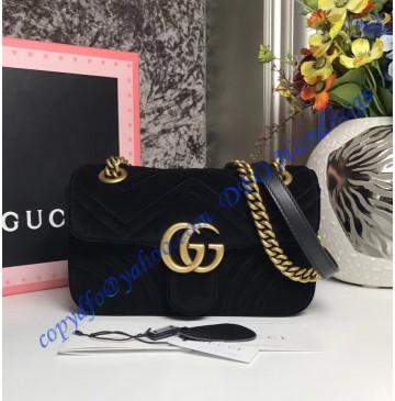 Gucci Mini GG Marmont Black velvet shoulder bag