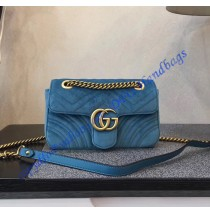 Gucci Mini GG Marmont Blue velvet shoulder bag