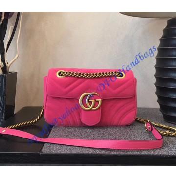 Gucci Mini GG Marmont Pink velvet shoulder bag