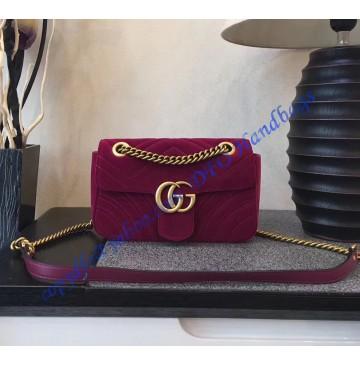Gucci Mini GG Marmont Rose Red velvet shoulder bag