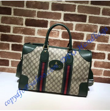 Gucci Soft GG Supreme duffle bag with Web and green leather trim