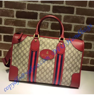 Gucci Soft GG Supreme duffle bag with Web and red leather trim