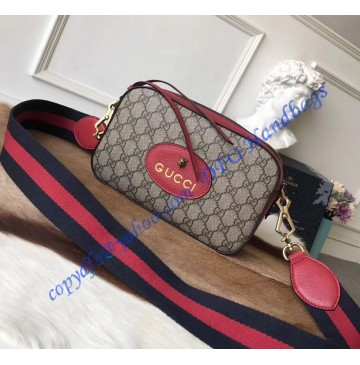 Gucci GG Supreme messenger bag with Red Leather Trim