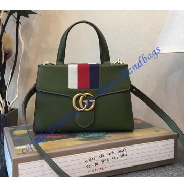 Gucci GG Marmont Sylvie Small Web Tote Green