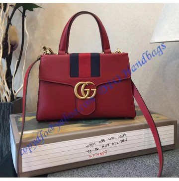 Gucci GG Marmont Sylvie Small Web Tote Red