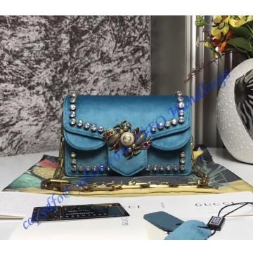 Gucci Broadway blue velvet mini bag