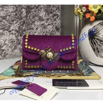 Gucci Broadway purple velvet mini bag