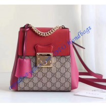 Gucci Padlock GG Supreme backpack with Red and Pink leather