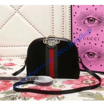 Gucci Ophidia Black Suede Small Shoulder Bag