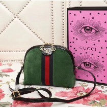 Gucci Ophidia Green Suede Small Shoulder Bag
