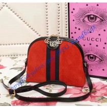 Gucci Ophidia Red Suede Small Shoulder Bag
