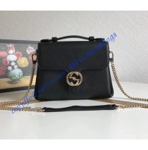 Gucci Interlocking G Buckle Convertible Chain Black Leather Cross Body Bag