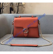 Gucci Interlocking G Buckle Convertible Chain Orange Leather Cross Body Bag