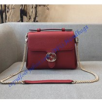 Gucci Interlocking G Buckle Convertible Chain Red Leather Cross Body Bag