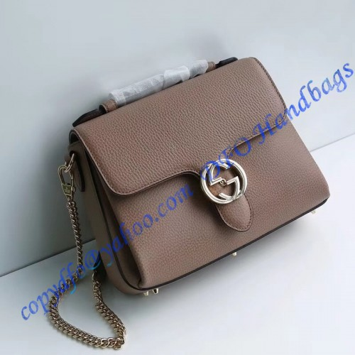 3844c7518181 Gucci Interlocking G Buckle Convertible Chain Tan Leather Cross Body Bag