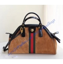 Gucci RE(BELLE) medium top handle bag Tan Suede