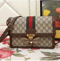 Gucci Queen Margaret GG Supreme medium shoulder bag with Brown Leather Trim