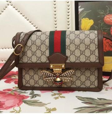 Gucci Queen Margaret GG Supreme medium shoulder bag with Brown Leather Trim