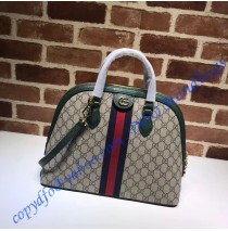Gucci Ophidia GG Medium Top Handle Bag with Green Leather Trim