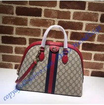 Gucci Ophidia GG Medium Top Handle Bag with Red Leather Trim