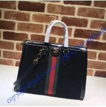 Gucci Ophidia GG medium top handle bag in Black Suede